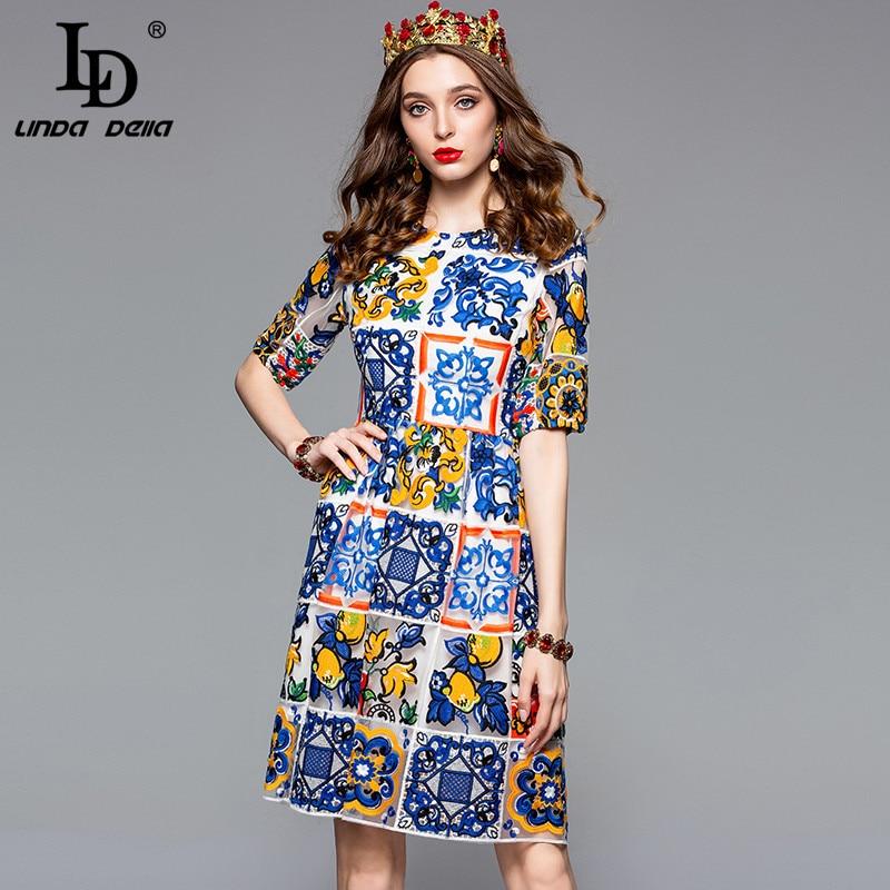 LD LINDA DELLA Fashion Designer Vintage Dress Women s Short Sleeve Gorgeous Lace Mesh Multicolor Flower