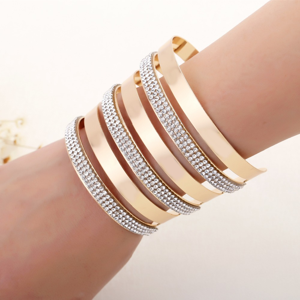 Fashion New cuff bangles with shiny stones circular hollow out punk stuck  drill exaggerated big bracelet f844ce4c0739