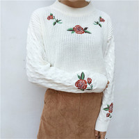 Harajuku 2016 New Korean Winter Sweaters Cartoon Embroidered Thick Warm Sweater Loose Women Fashion Sweater Female
