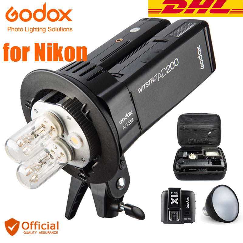 Free DHL Godox AD200 Kit Outdoor Flash 2.4G Wireless 200WS TTL HSS 1/8000s sync Bowens Mount+Transmitter For Nikon D810 D750 D5 godox ad360 camera outdoor shooting flash kit ad 360 360w flash ft 16 wireless trigger ad s17 diffuser 60 60cm softbox