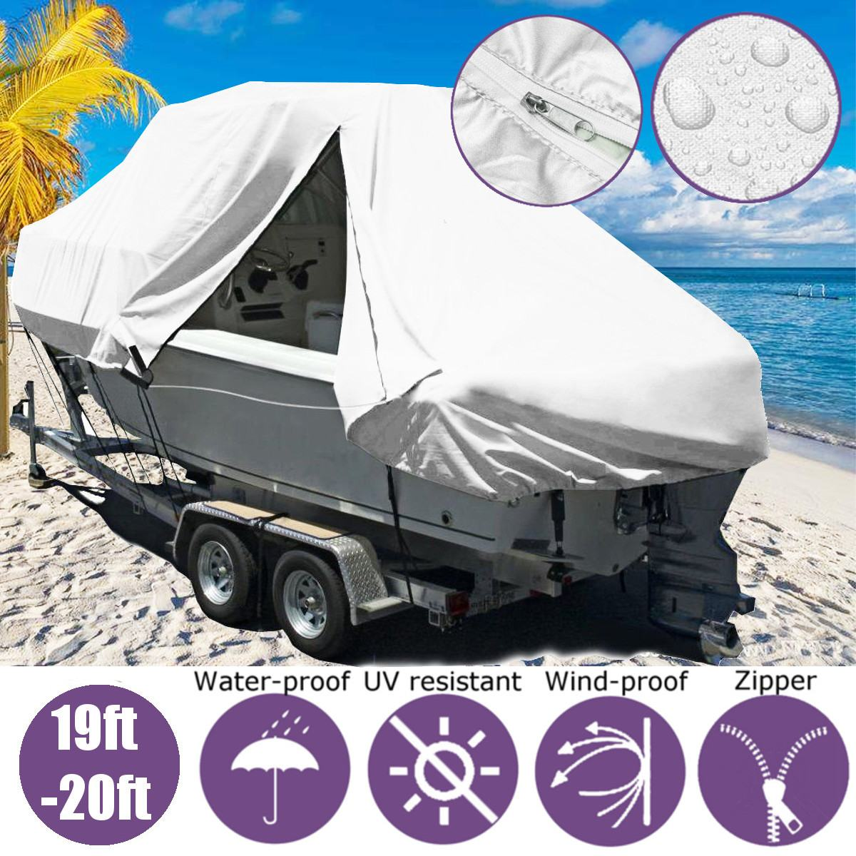 19-20ft 5.8-6.1m Boat Cover Marine Boat Yacht New Design Premium Heavy Duty 600D Trailerable Jumbo Boat Cover image