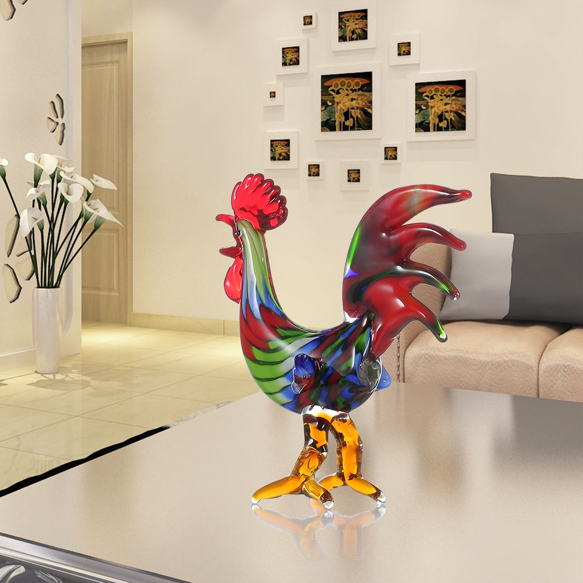 Valiant and Spirited Glass Rooster Colorful Rooster Glass Sculpture Room Home Desk Decor Animal Ornament Gift