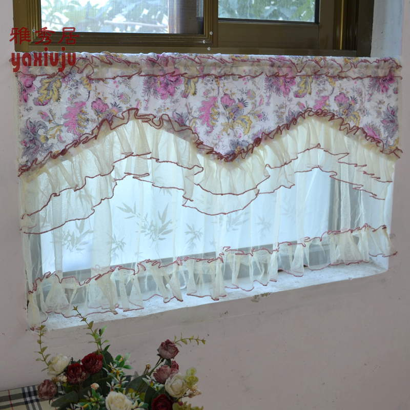 Free Shipping Purple Double Lace  Coffee Curtain   Short Curtain Kitchen Curtains For Living Room Bedroom 50*90CM