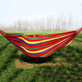 Striped Canvas Double Hammock Hanging Bed for Outdoor Camping Travel 250*78cm - Red