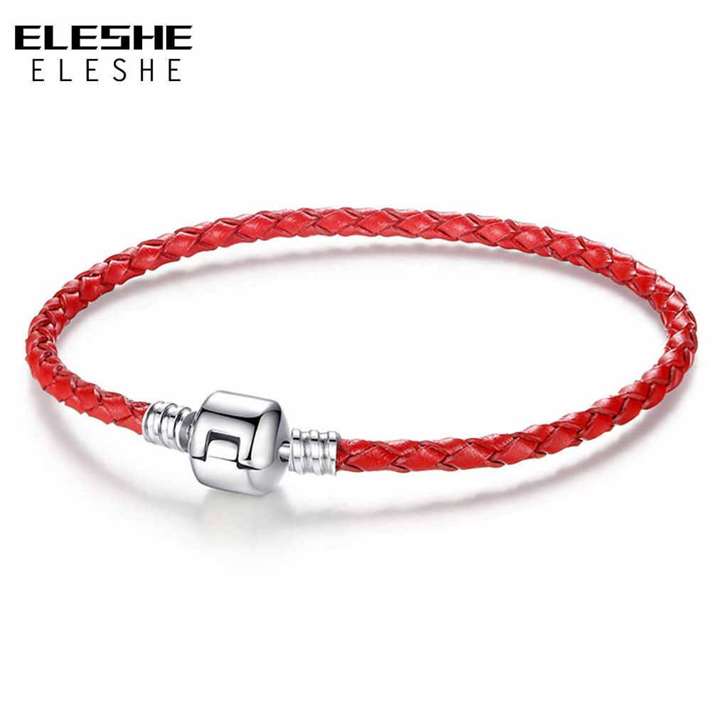 ELESHE Autnentic уникальный серебряный браслет с застежкой из натуральной кожи Подходит для женщин и мужчин оригинальный браслет с шармом ожерелье DIY ювелирные изделия