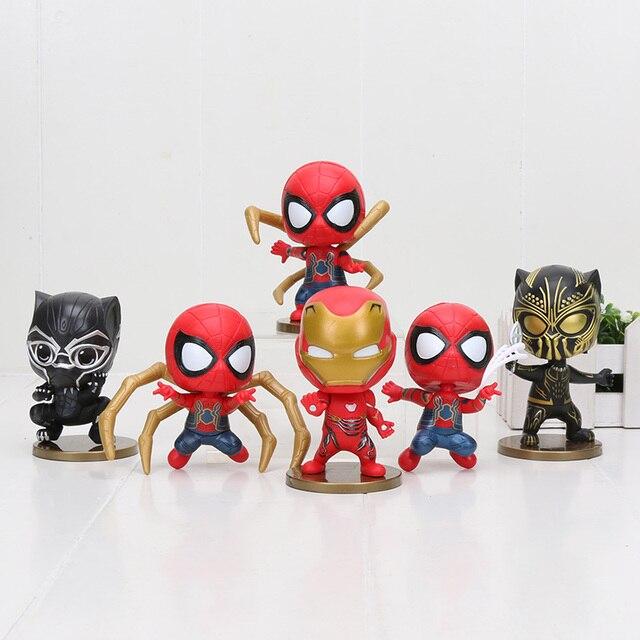9 cm 6 pçs/set Infinito Guerra Homem De Ferro Avengers Black Panther homem Aranha Spiderman Ação PVC Figura Toy