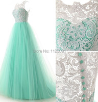 2019 Hot Sale Tulle Lace Bridesmaid Dress Zipper Ball Gown Mint Green Tulle Floor Length Prom Dresses Fast Delivery In Stock