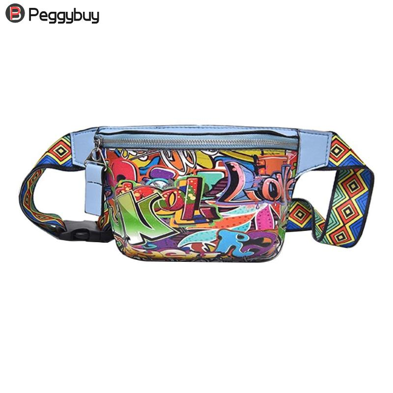 New Fanny Pack Waist Bag Women Personality Belt Bags Pu Leather Graffiti Chest Handbag WIth Colorful Shoulder Belt 2019