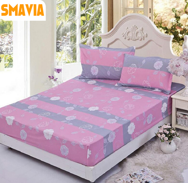 SMAVIA Hot Sale Bed Sheets Set Printed 100% Polyester Protection Mattress  Covers With 2 Pillowcase