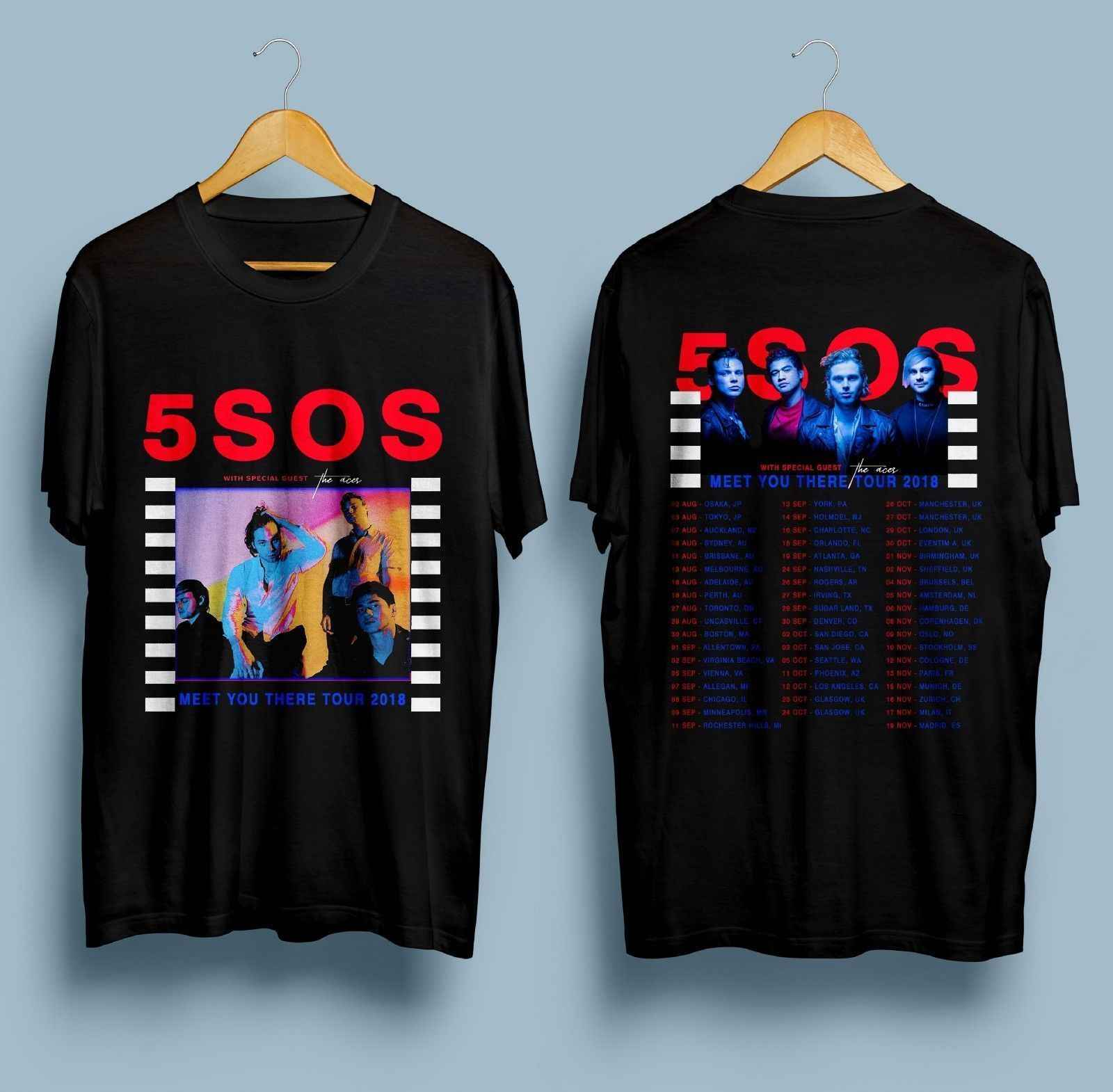 New 5 Seconds Of Summer 5SOS Meet You There Tour Dates 2018 T-Shirt Size S - 3XL T Shirts Casual Brand Clothing Cotton