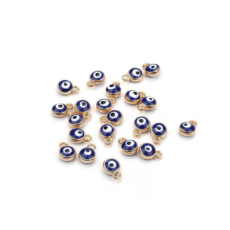 10Pcs Gold Tone Eye Blue Rhinestone Connector Charm DIY Bracelet Craft Making