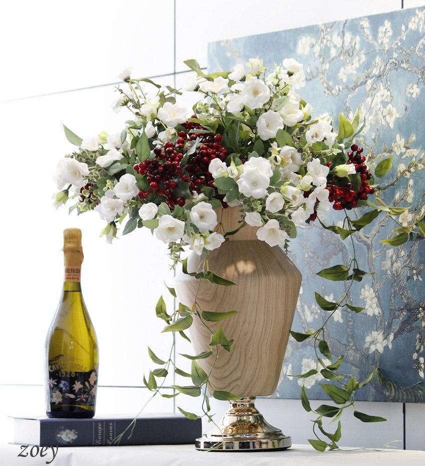 7 Heads Artificial Rose Flower Bouquet Artificial Silk Bouquet Rose