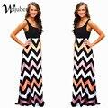 Мухерес Лето Женщины Пляж Boho Maxi Dress 2016 Высокое Качество Марка Полосатый Печати Длинные Платья Женская Плюс Размер