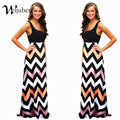 Mujeres Summer Women Beach Boho Maxi Dress 2016 High Quality Brand Striped Print Long Dresses Feminine Plus Size