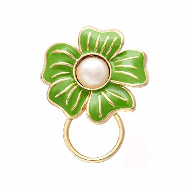 Green Flower With Imitation Pearl Magnetic Clip Holder