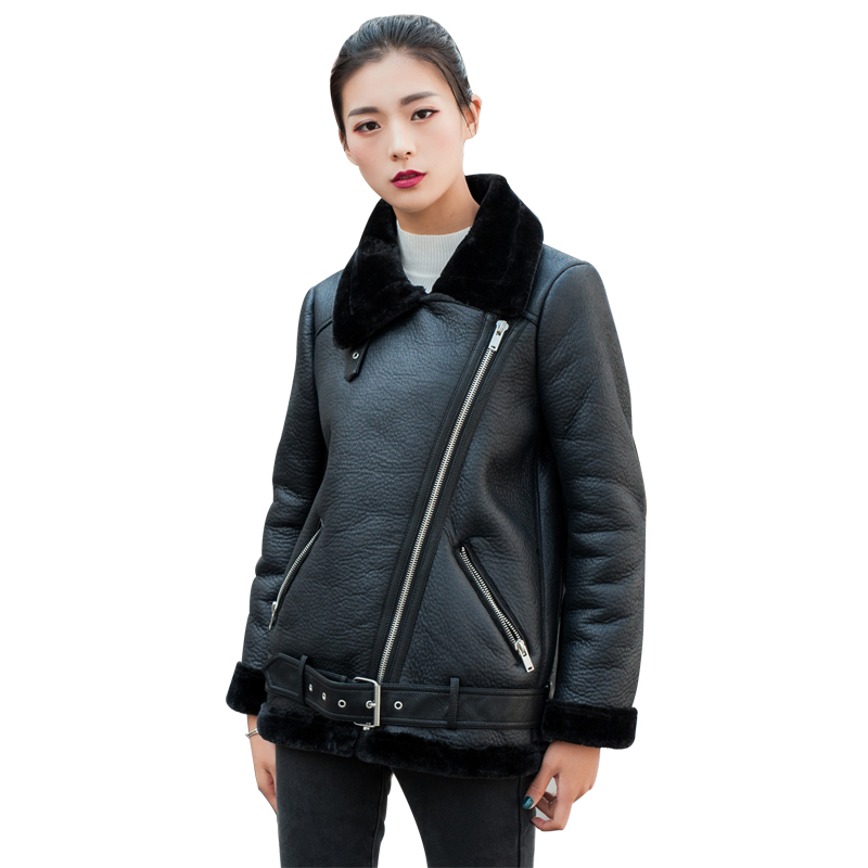 New Women   Leather   Jacket 2018 New Casual Long Sleeve Fake Lamb Wool Patchwork Winter Loose Moto Biker Jacket Jaqueta Feminina