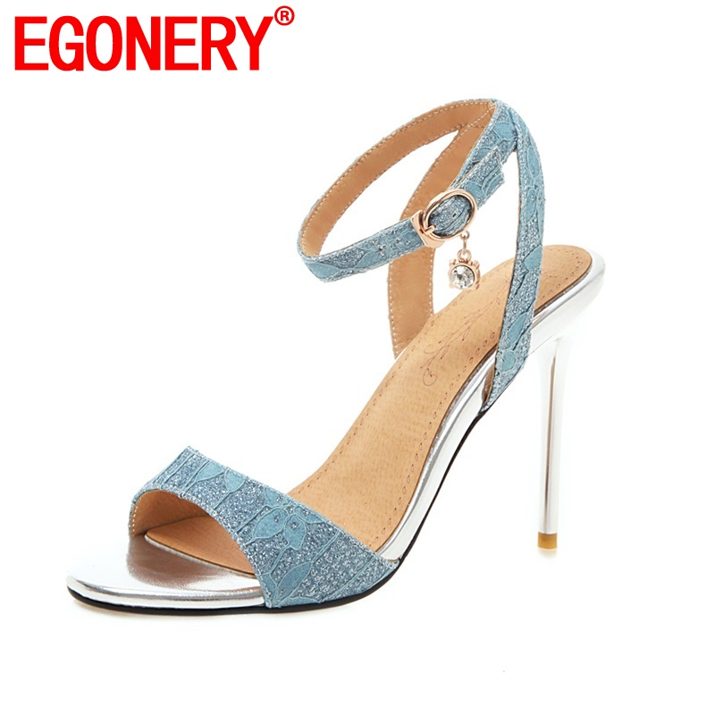 EGONERY summer <font><b>10</b></font> cm super high heel shoes fashion <font><b>sexy</b></font> dress party sandals peep toe buckle strap plus size 32-45 woman shoes image