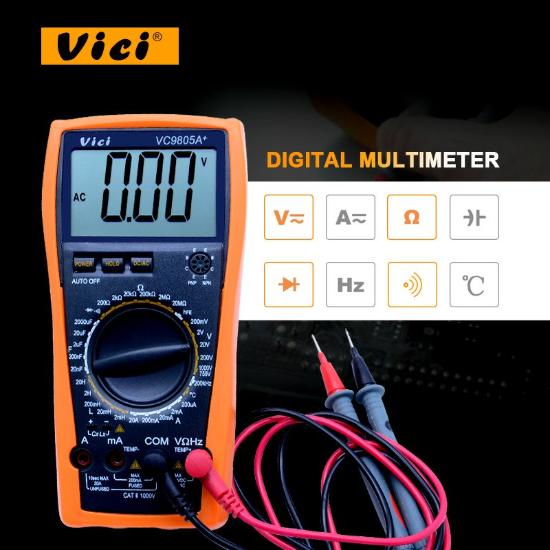 High presion Digital Multimeter full protection measure inductance frequency temperature electro VC9805A+ with high quality стоимость