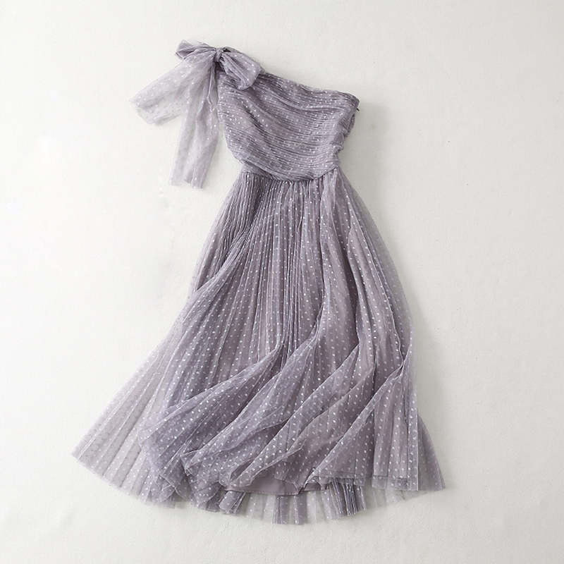 VERDEJULIAY 2019 Summer Ladies Dress Fashion Runway Elegant Sleeveless Strapless Pleated Grey Pink Blue Bow Mesh