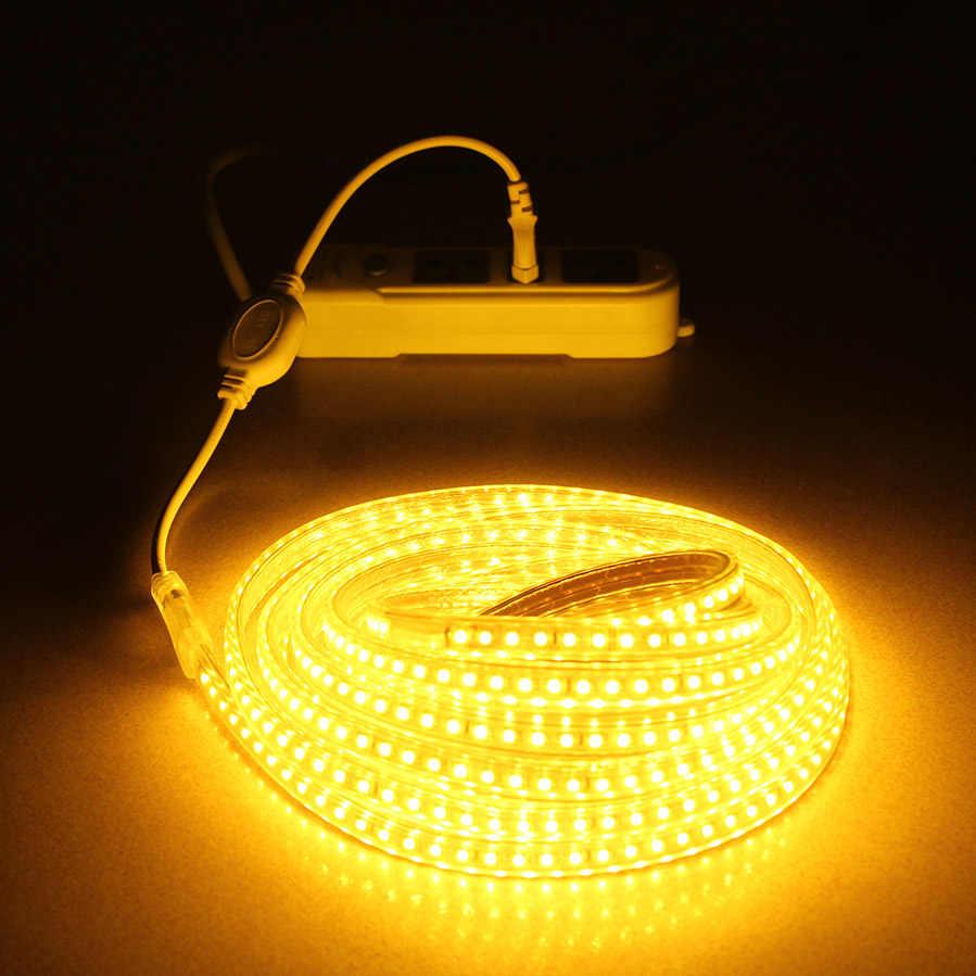 LAIMAIK SMD2835 bande de lumière LED étanche 220 V 48 LED s/m bande de LED Flexible extérieure rgb LED RGBW LED bande ip67 lampe avec prise EU