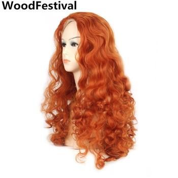 цена на WoodFestival Curly Synthetic Cosplay Orange Wig Long High Temperature fiber Heat Resistant Hair Wigs for Women