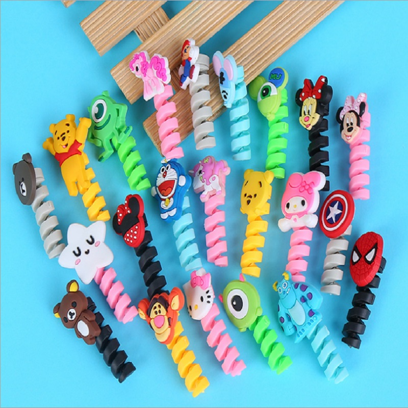 Cartoon Flexible Spiral Tube Cable Winder Protector Wire Cord Organizer Protetor for Apple Watch iPhone Charging Cable freeing keithnico 1m 3ft cable wire wrap organizer spiral tube cable winder cord protector flexible management wire storage pipe 16mm