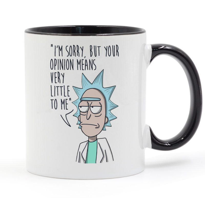 Rick And Morty Funny Mug Black Handle Black Inside Coffee Ceramic Cup Creative Gifts 11oz C212