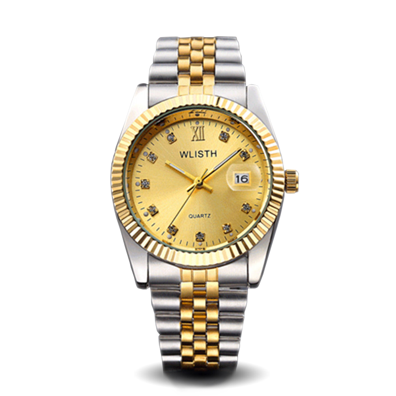 1 Piece WLISTH Gold Luxury Lovers Wristwatch Round Quartz Watch Business Steel Band Watch for Couples 2016 New Water Resistant