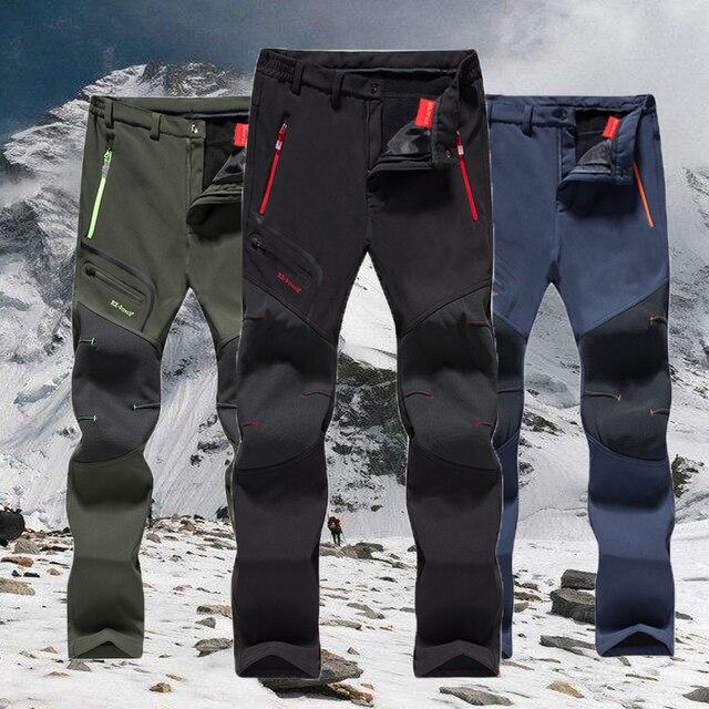 Pantalones de senderismo para hombre, impermeables, softshell, para invierno, exteriores, deportes, Camping, Trekking, ciclismo, pantalones de lana de gran tamaño 6XL