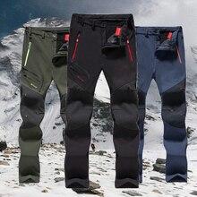 חדש טיולים מכנסיים גבר עמיד למים softshell חורף חיצוני מכנסיים ספורט קמפינג טרקים רכיבה על סקי צמר מכנסיים Oversize 6XL