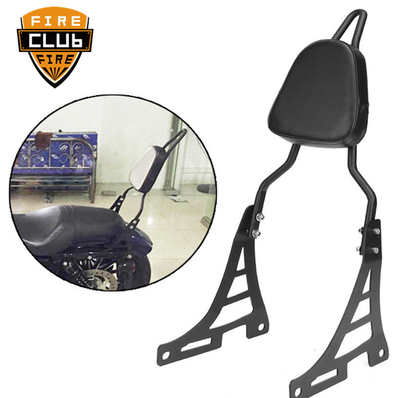 Motorcycle Black Passenger Luggage Rear Backrest Sissy Bar With Cushion Pad  For Harley XL883 1200 48 SPORTSTER 46-16 -Up
