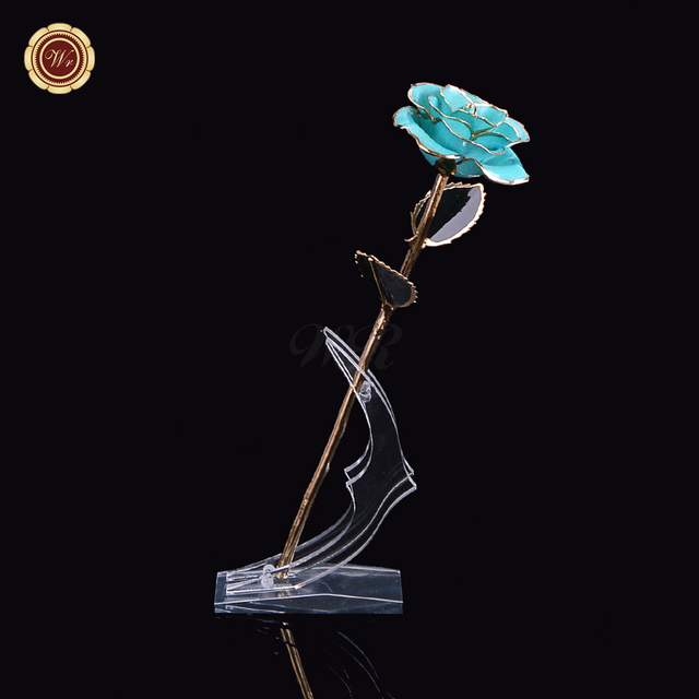 Aqua Blue Colored Flower Real Rose Birthday Valentine's Day Gift Christmas Collection 24K Gold Dipped Rose with Crescent Holder