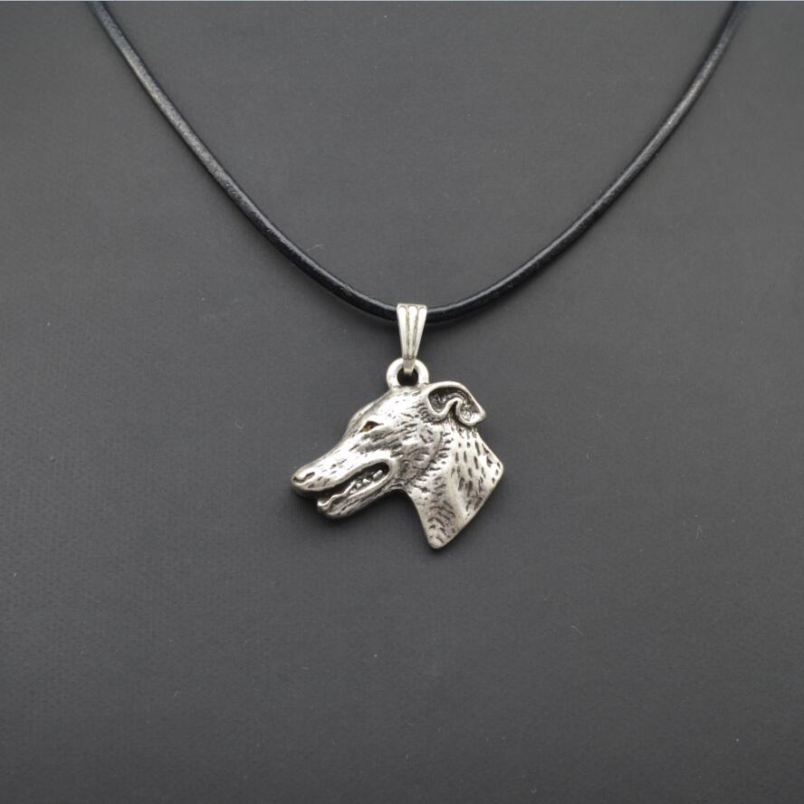 Retro Grey Hound, English Greyhound Pendant Necklace Female/Male Gift Jewelry Necklace--12pcs/Lot(6 Colors Free Choice)