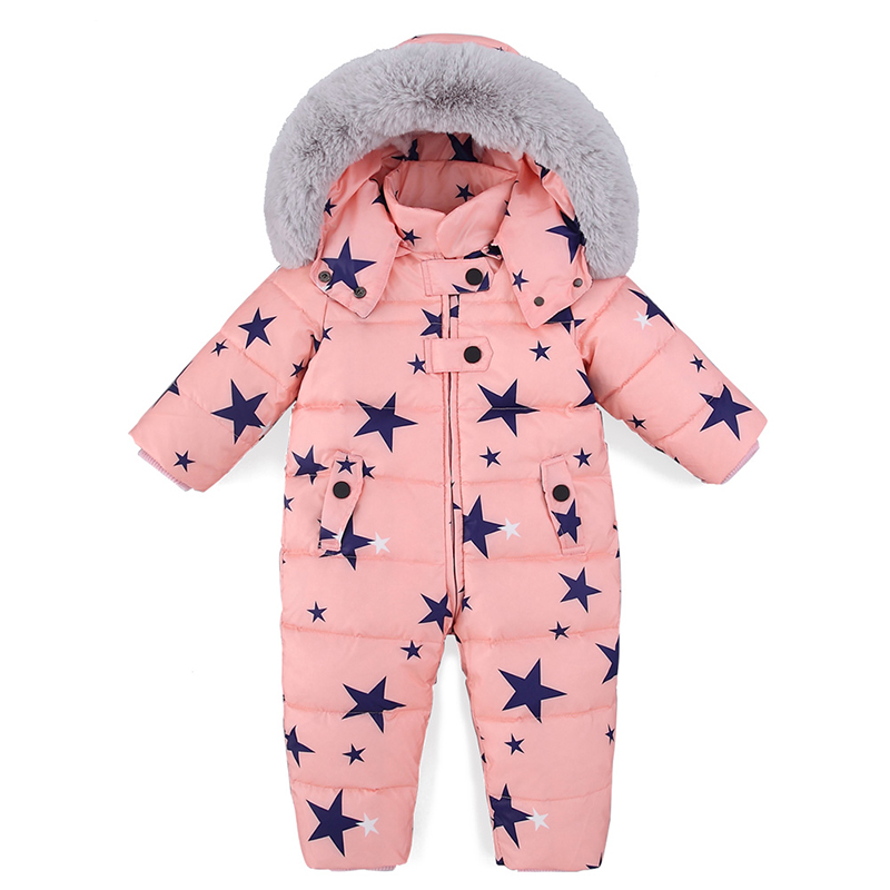 -30 Degree Baby Winter Down Rompers Jumpsuits Toddler Boys Girls Overalls Thicken Warm Children Outerwear Coat Kids Snowsuit