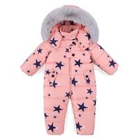 30 Degree Baby Winter Down Rompers Jumpsuits Toddler Boys Girls Overalls Thicken Warm Children Outerwear Coat Kids Snowsuit