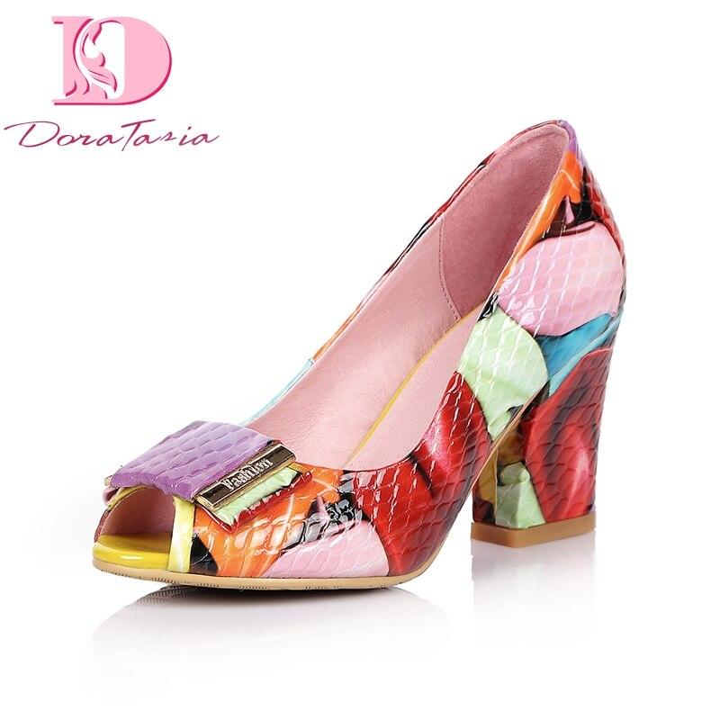 Doratasia Brand Shoes Women Colorful Print Genuine Leather High Heel Shoes Woman Pumps Peep Toe Large Size 33-44
