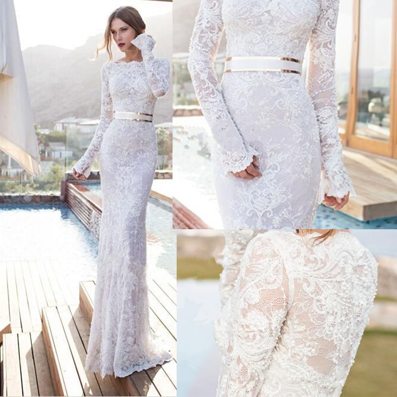 Elegant Simple Long Sleeve Wedding Dresses With Lace 2015: 2015 New Elegant Full Long Sleeves Mermaid Wedding Dresses