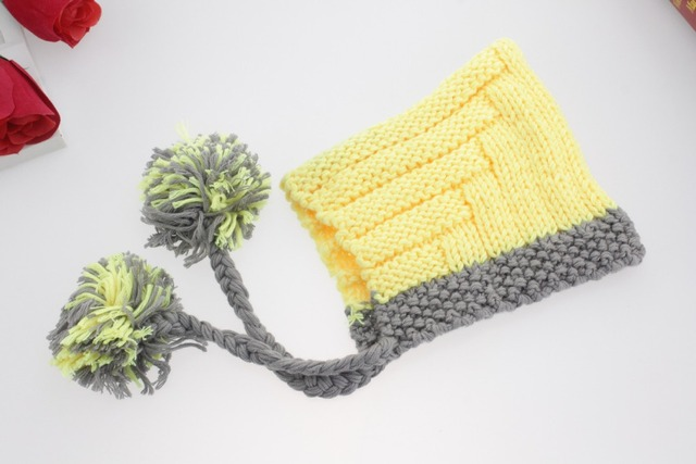 8308cb83b US $7.75 |Baby Cute Handmade Knitting Character Hat Yellow Color New Born  Infant Baby Knit Crochet Photography Props Caps Accessories-in Hats & Caps  ...