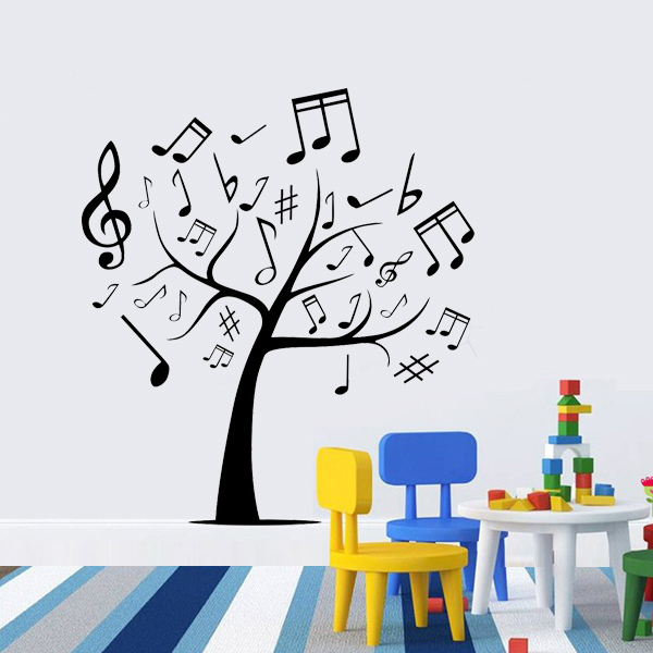 Music tree wall stickers living room decoration wall art for Mural lettering