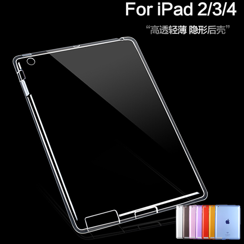 For ipad 4 Ipad 3 Ipad 2 Case Soft TPU Back Bottom Cover Shockproof Clear Protective Case for iPad 2/3/4+Film+Stylus