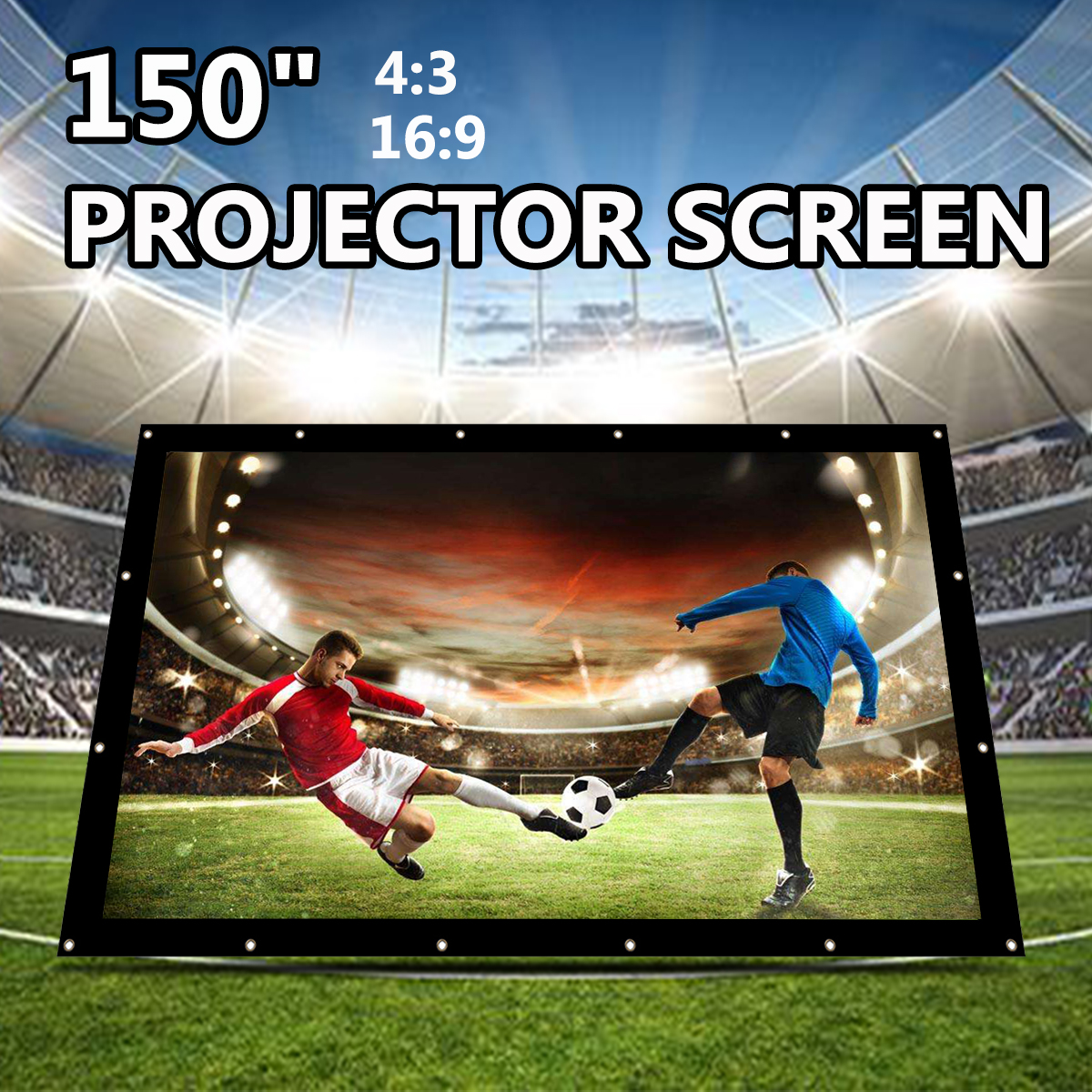 Здесь продается  150 Inch Foldable Projection Screen Portable Front & Rear Polyester Projector Screen 4:3 Outdoor Travel Home Theater Wall Mount  Бытовая электроника