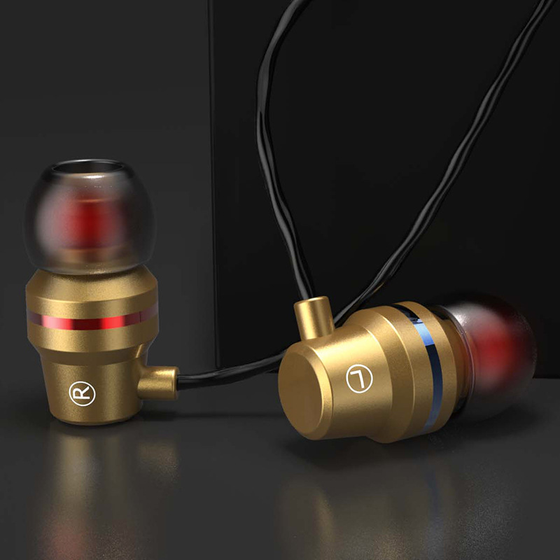 Qearfun Applicable To Apple Universal Earphone Noise Reduction Earbuds In-ear Subwoofer Metal Wired Earphone