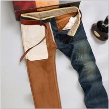 Men's Winter Warm Plus Velvet Straight Jeans Male Classic thick fleece Denim Pants Plus size trousers Free shipping