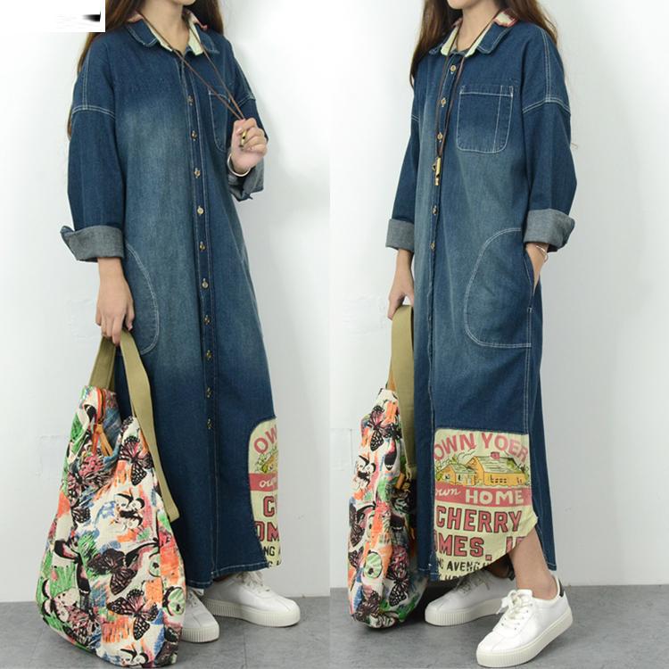 nueva moda vaquera capa larga para mujer ms tamao sueltan los pantalones vaqueros prendas de
