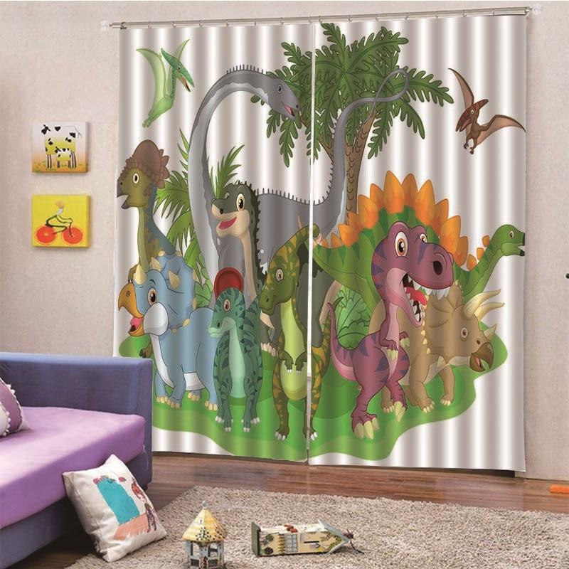 3D Digital Print Dinosaur World Solid Blackout Curtains Bedroom Windows Curtains For Living Room Drapes Custom Dropship M13