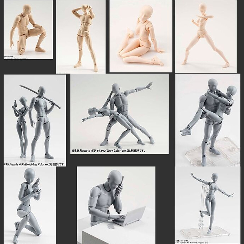15cm SHFiguarts BODY KUN / BODY CHAN Odern Mannequins Action Figure Drawing Sketch Model With Stand For Camera Lines Model Toy