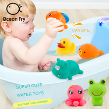 5pcs/Set Baby Bath Toys Animal Float Squeeze Sound Dabbling Rubber Water Spraying Shower Bathing Toys Gift For Kids Dropshipping kids shower bath toys cute duck waterwheel dolphin baby faucet water spraying wheel type dabbling sunflower crab children gift