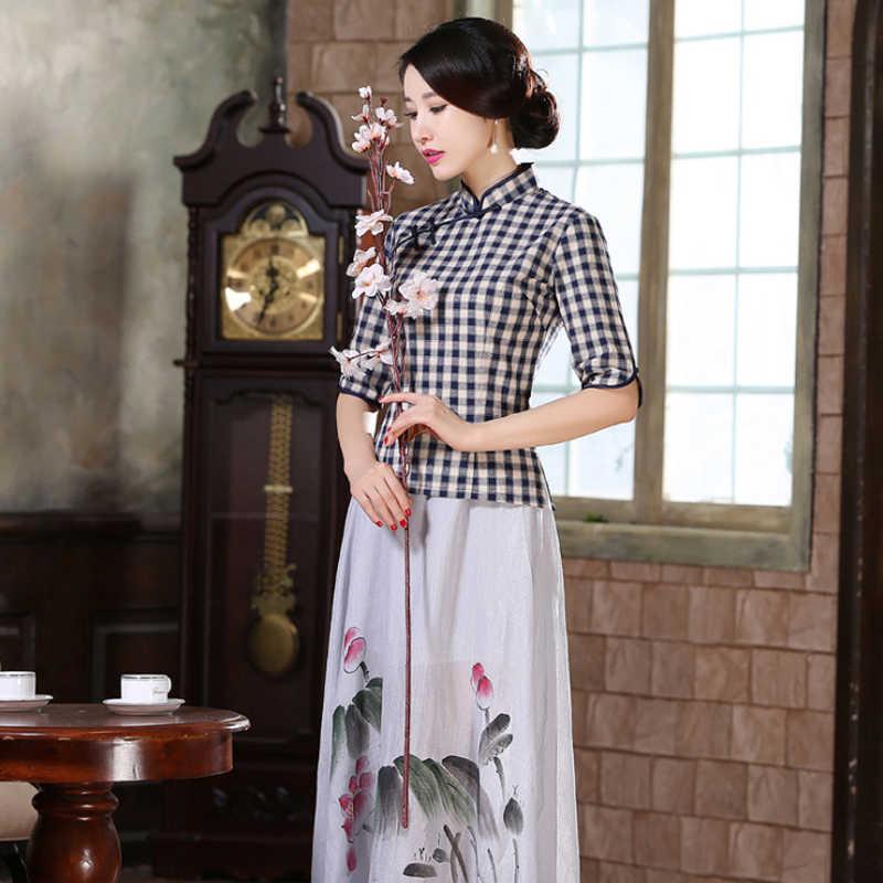 ブランド新到着中国の伝統女性の綿の格子縞のブラウスシャツ SML XL XXL LGD09212 トップス