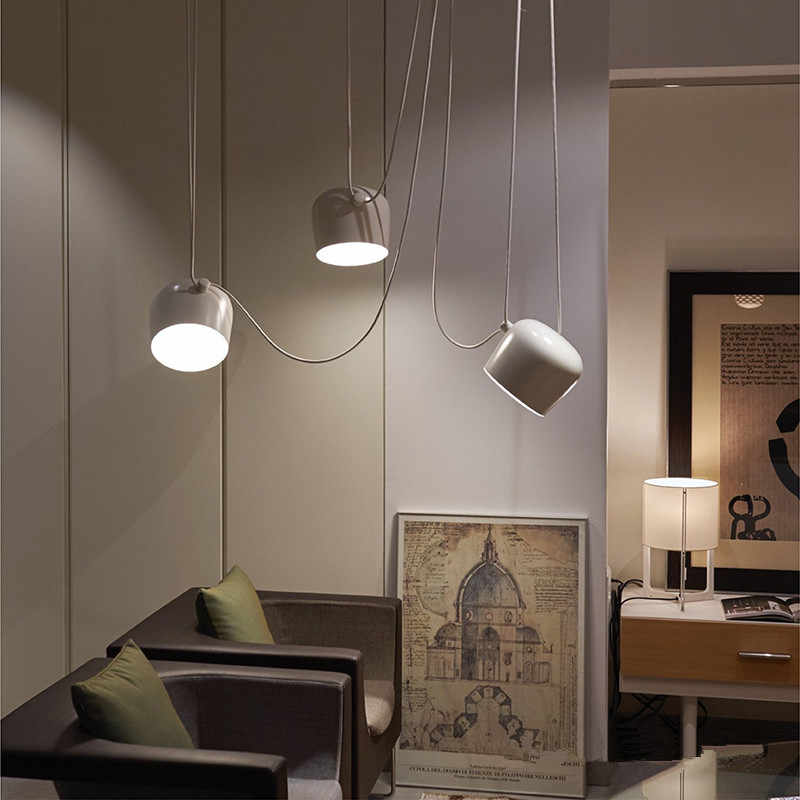 โมเดิร์นสีดำจี้โคมไฟเพดาน LED Hanglamp Spider อุตสาหกรรมจี้ไฟสำหรับห้องดำน้ำร้านอาหารห้องครัวโคมไฟ