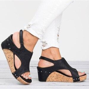 Image 5 - Women Sandals 2020 Platform Sandals Wedges Shoes For Women Heels Sandalias Mujer Summer Shoes Leather Wedge Heels Sandals 43